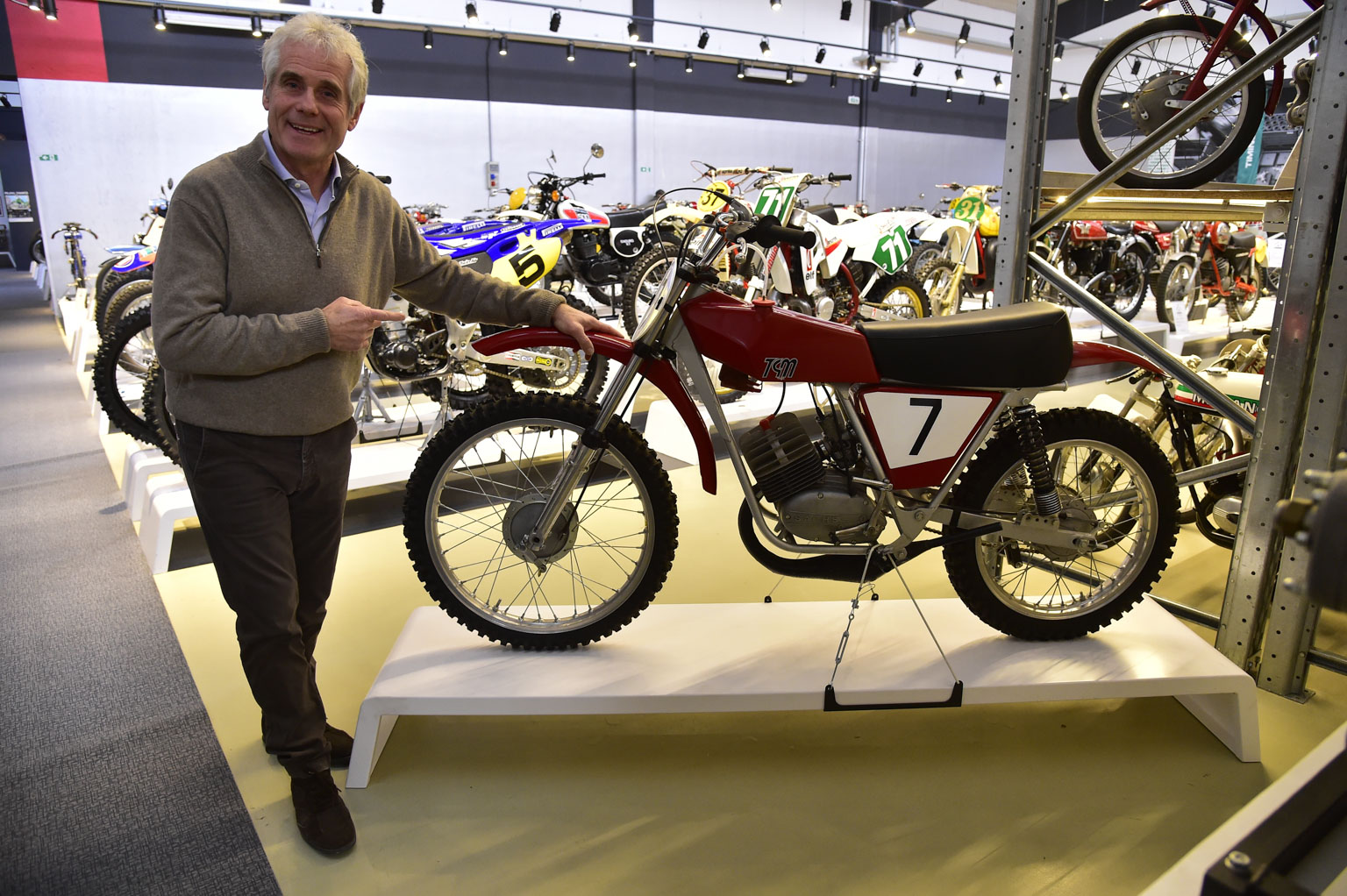Rinaldi with one of his old bikes