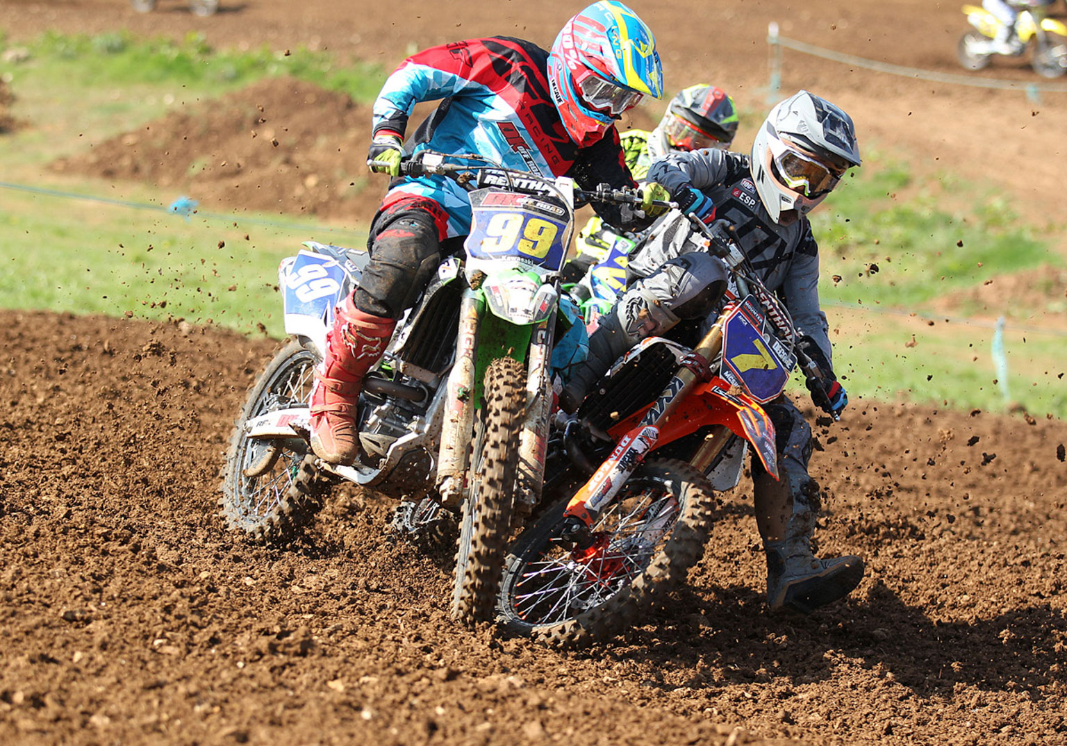 Clinton Barrs(99) and Cory McShane having a close MX2 battle