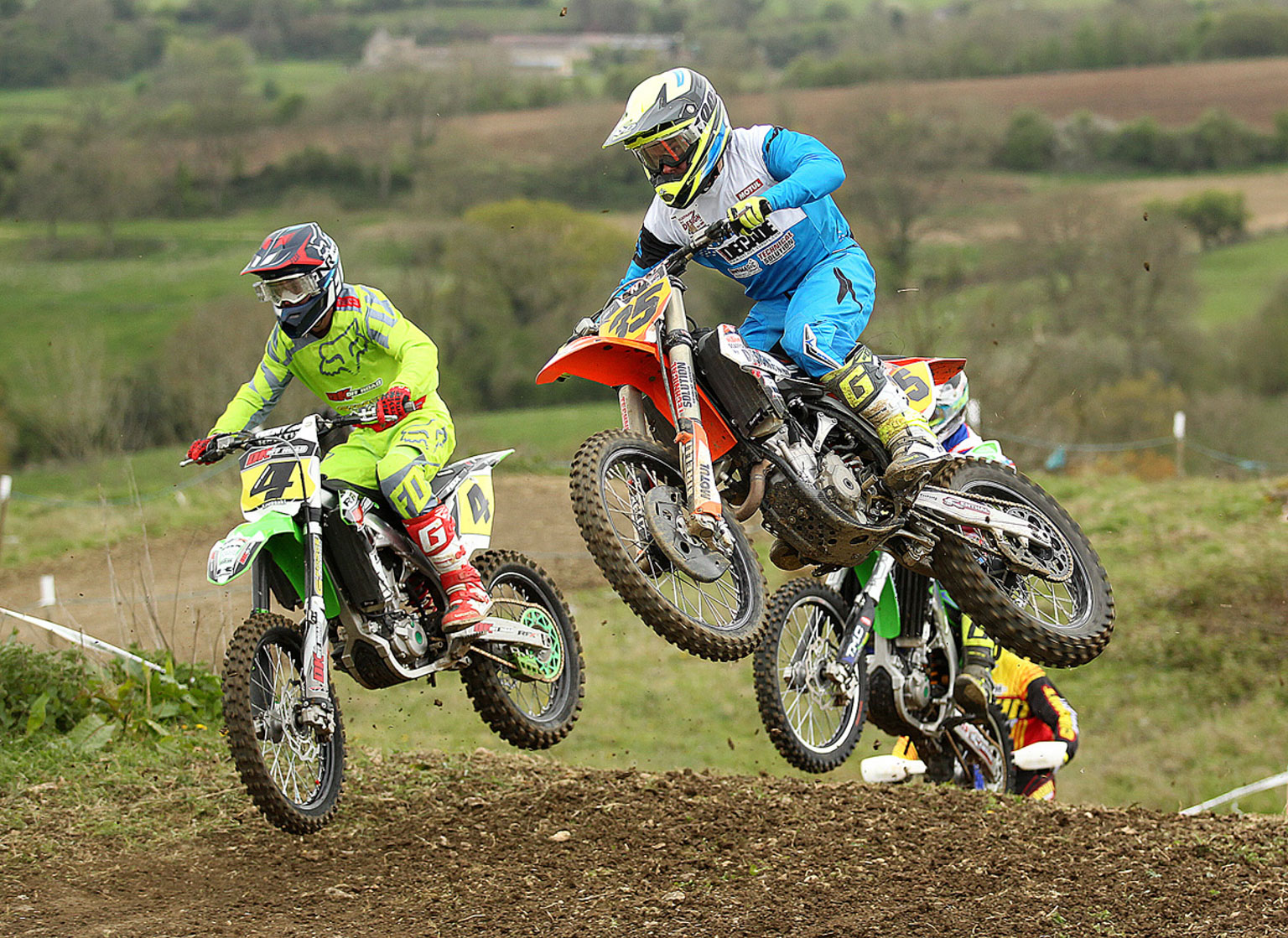 ary Gibson(4) and John May in MX1 moto two