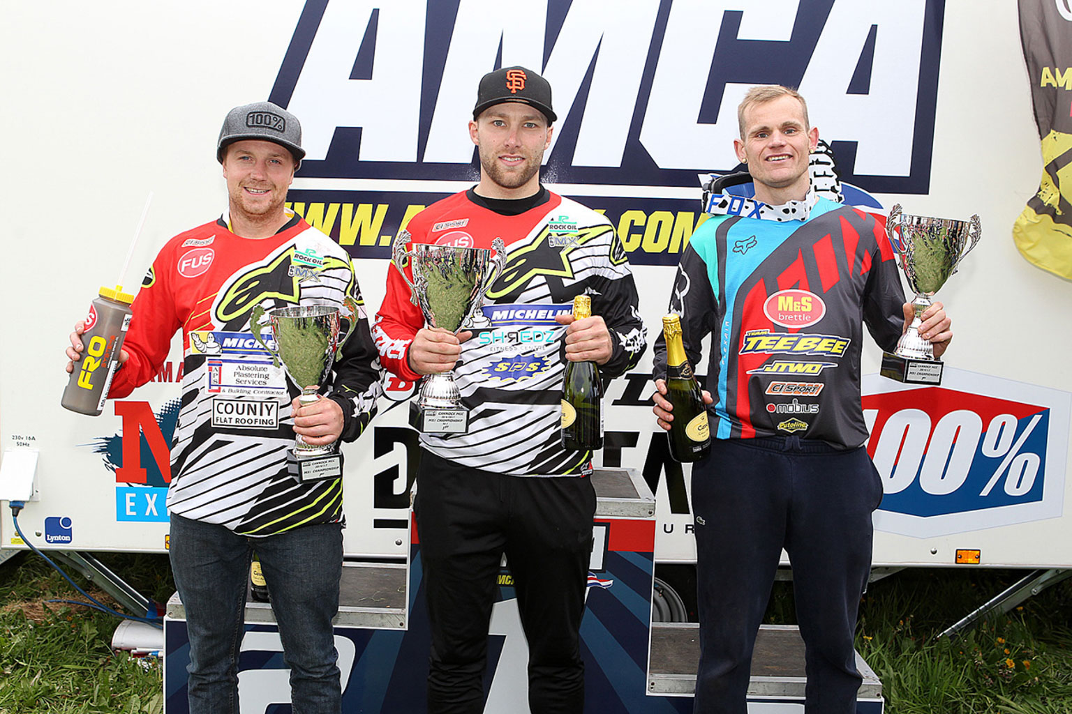 MX1 top three with left to right, James Dodd 2nd, winner Luke Burton and Richard Cannings 3rd
