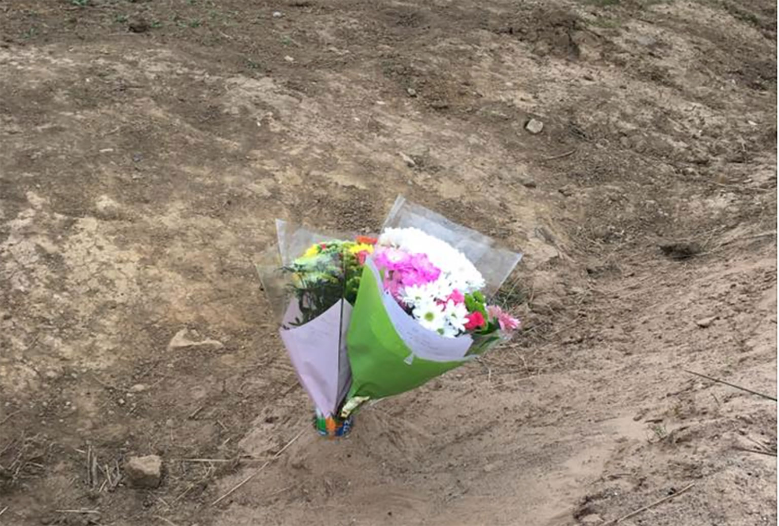 Flowers at the track where he crashed