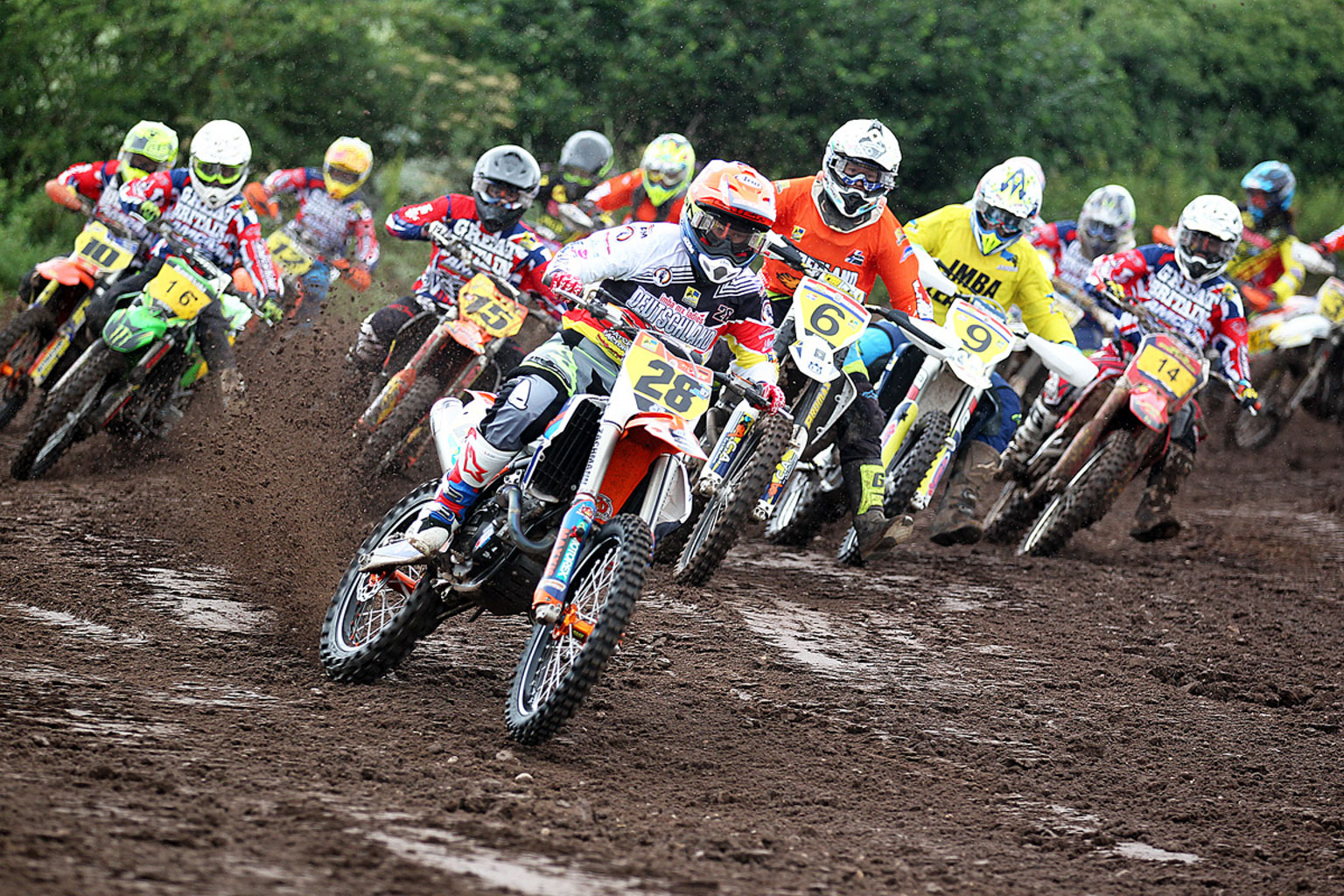 Former World Champion Steffi Laier(28) leading moto one