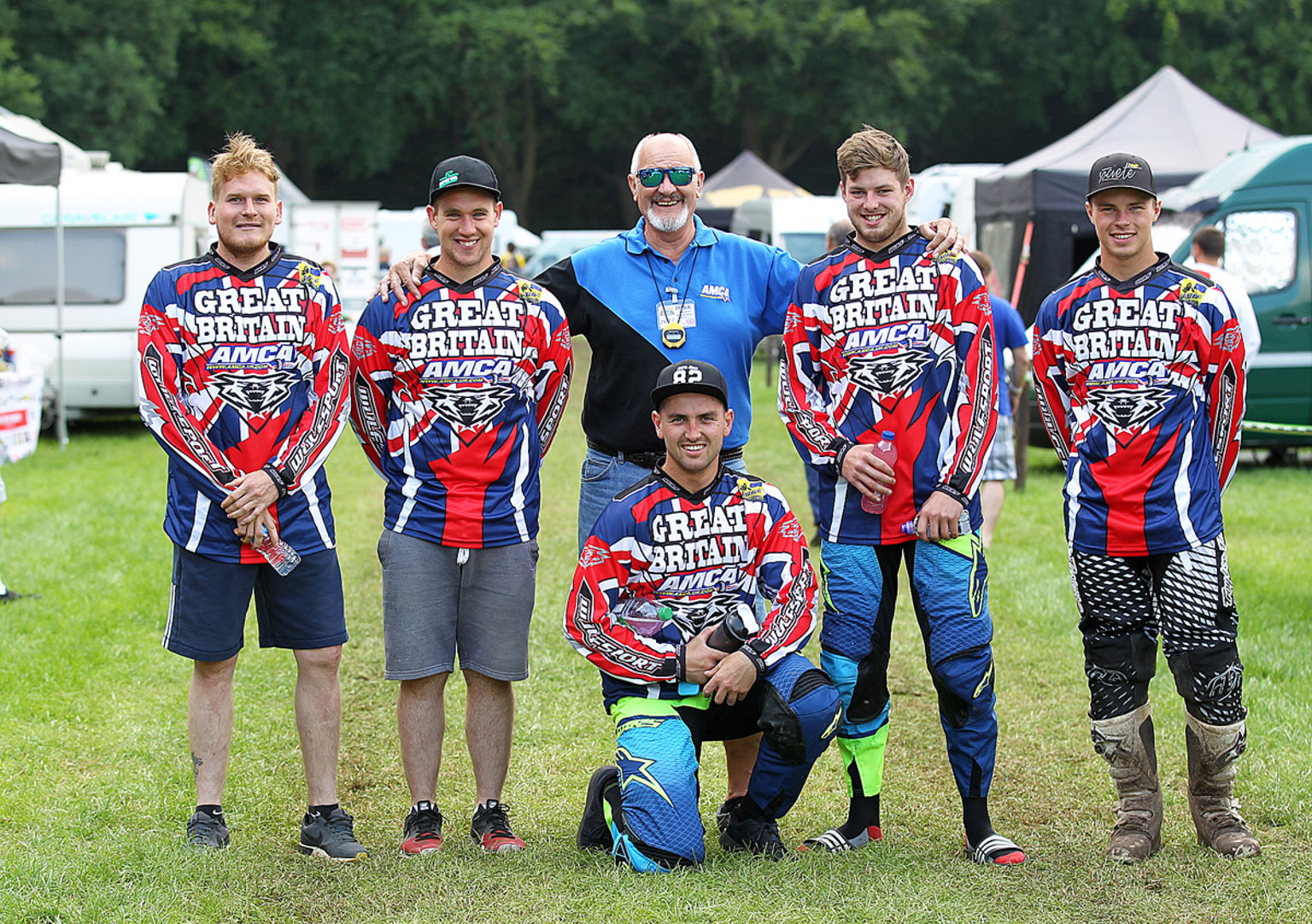 Team AMCA GB with left to right, Ray Rowson, Josh Waterman, Colin Price, Bradley Tranter, Jack Gardner and Jack Cox, kneeling