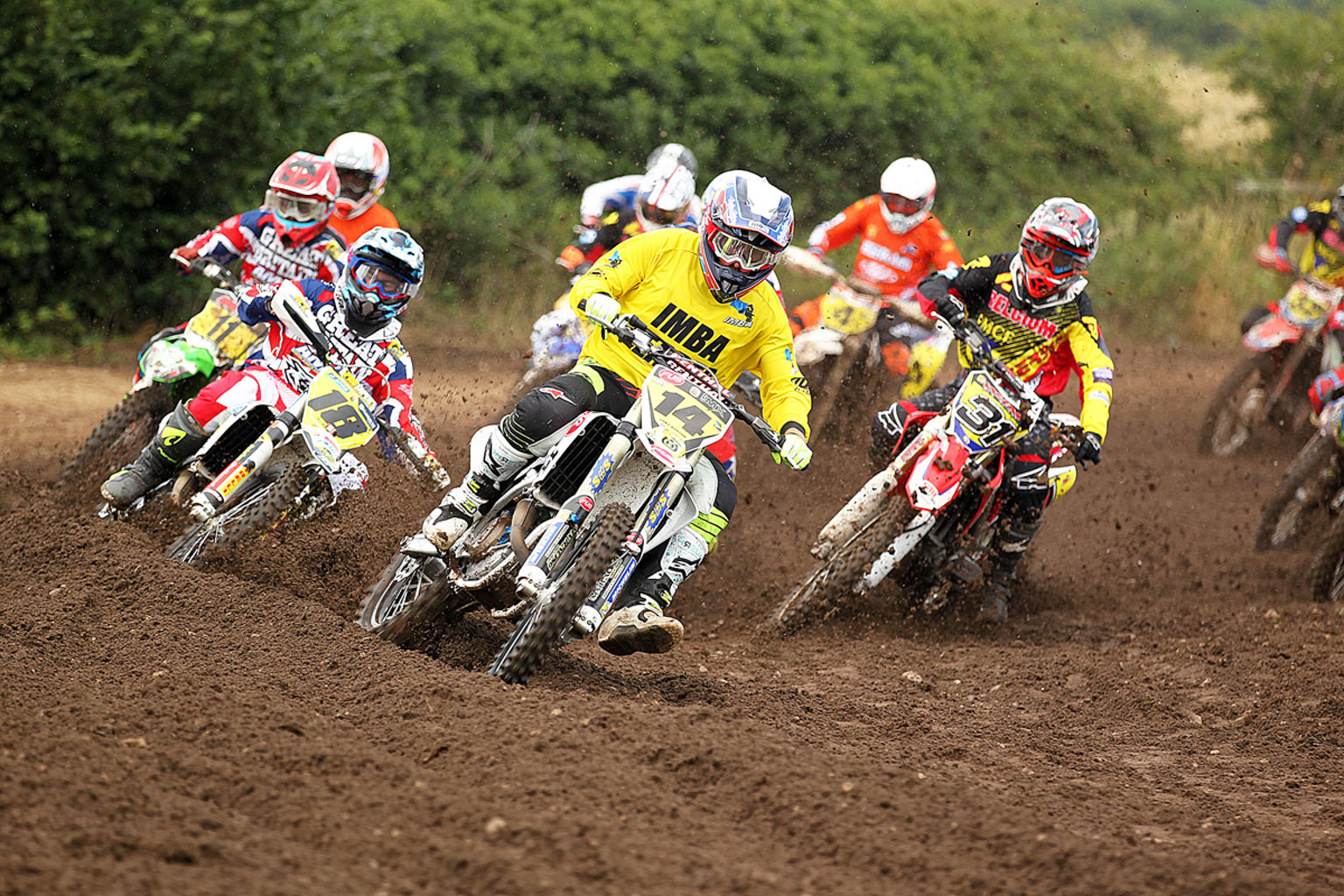 Luke Burton(14) leads MX1 moto one just ahead of Ryan Crowder(18)