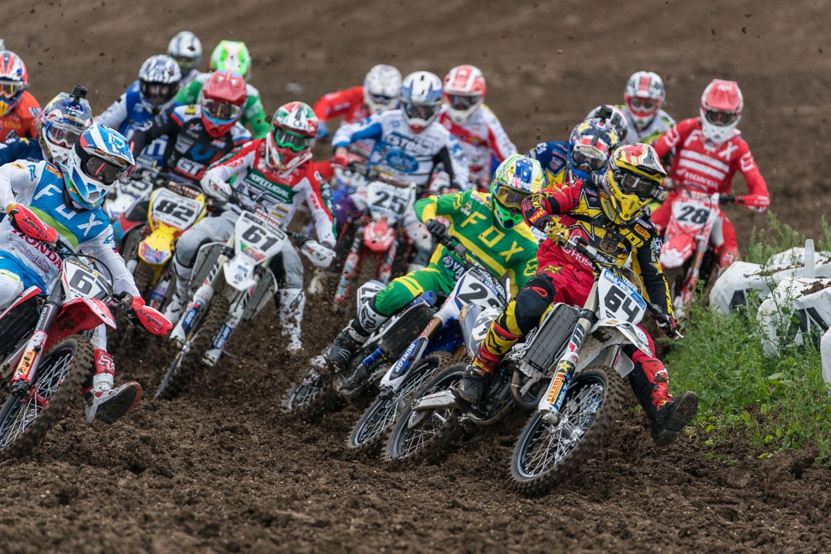 Max Nagl leads the opening MXGP moto but failed to finish