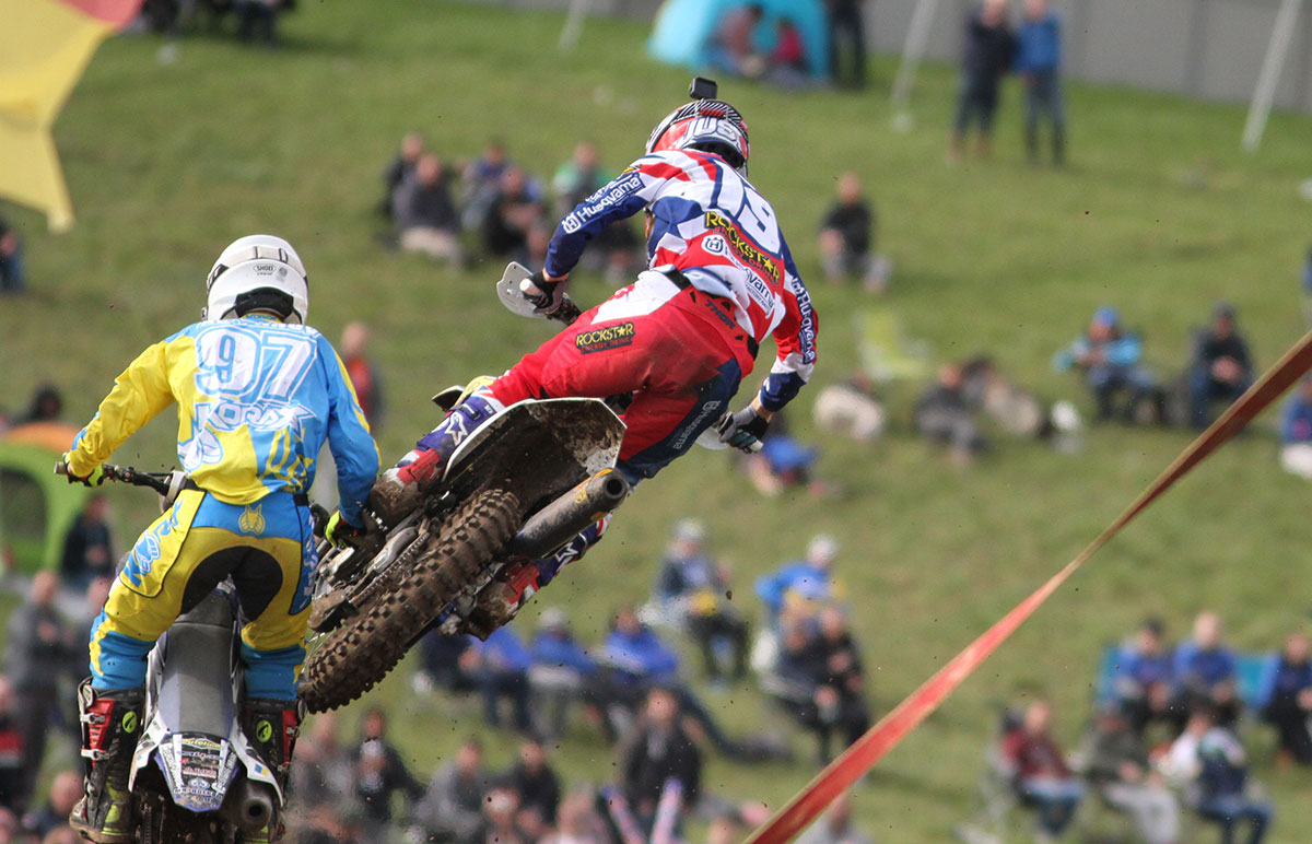 This is the moment Max Anstie got wiped out by a backmarker! Pic: Ady Cowshall