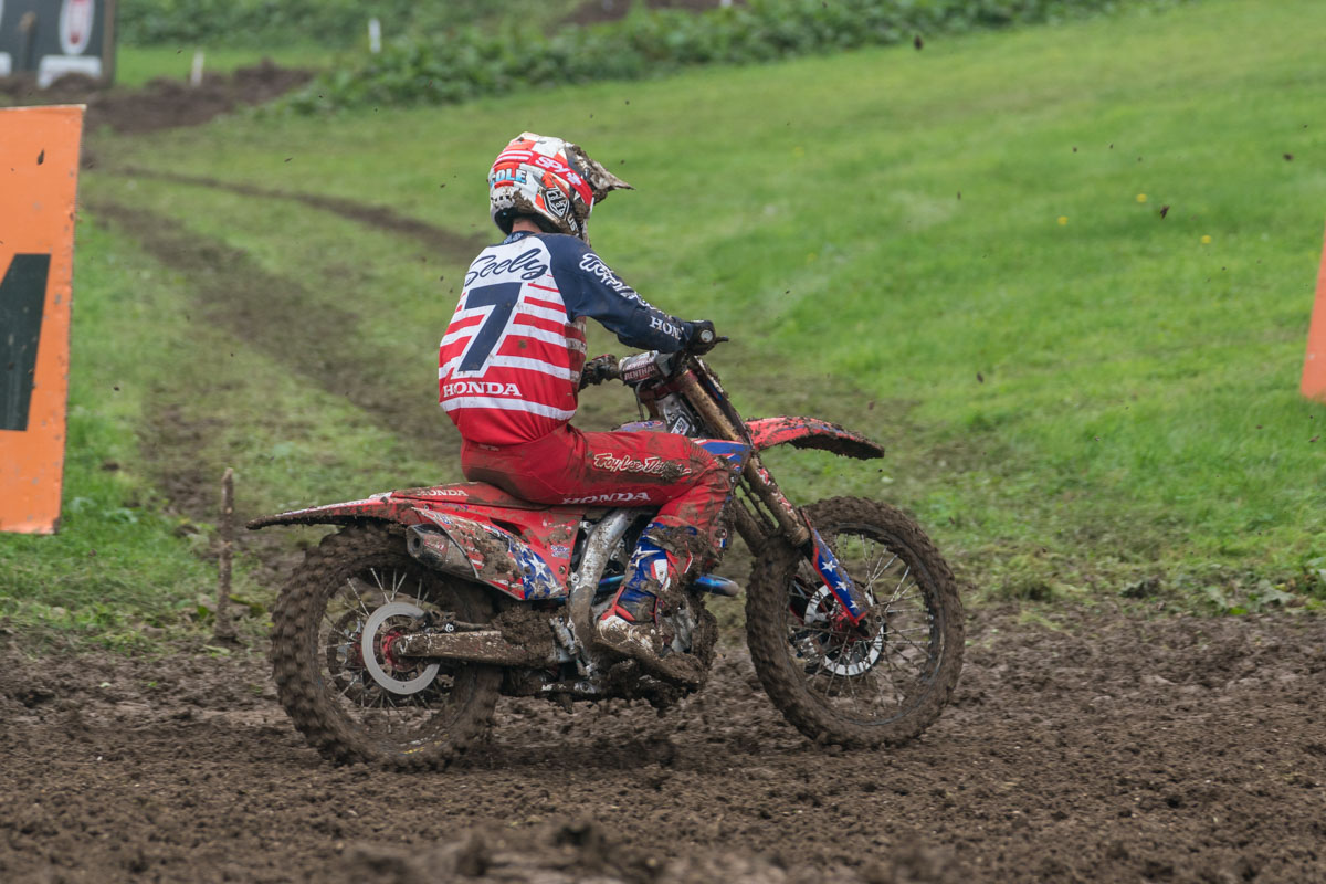 Seely's rear suspension collapsed in both motos