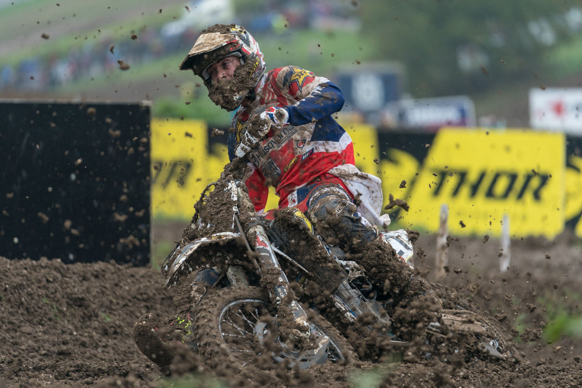 Dean Wilson had goggle issues, like many riders