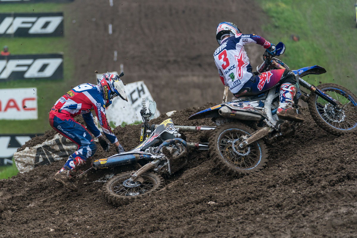 Anstie crashes out of the race two lead as Febvre flies by