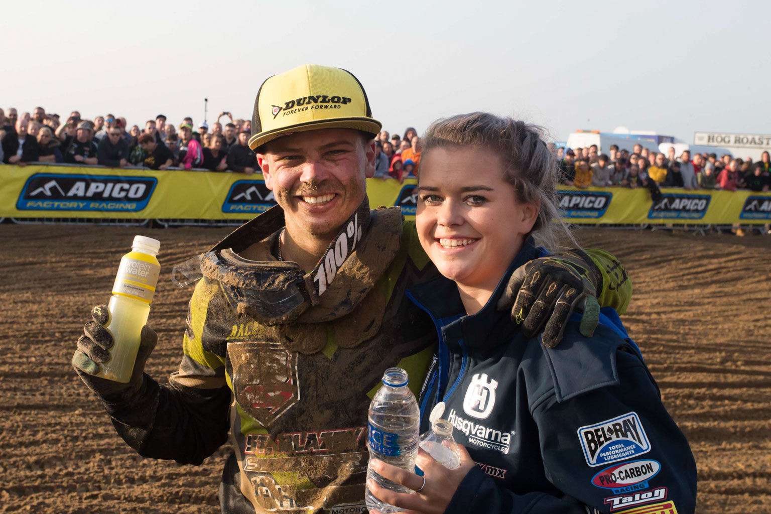 Winner Todd Kellett (St Blazey Husqvarna) with girlfriend