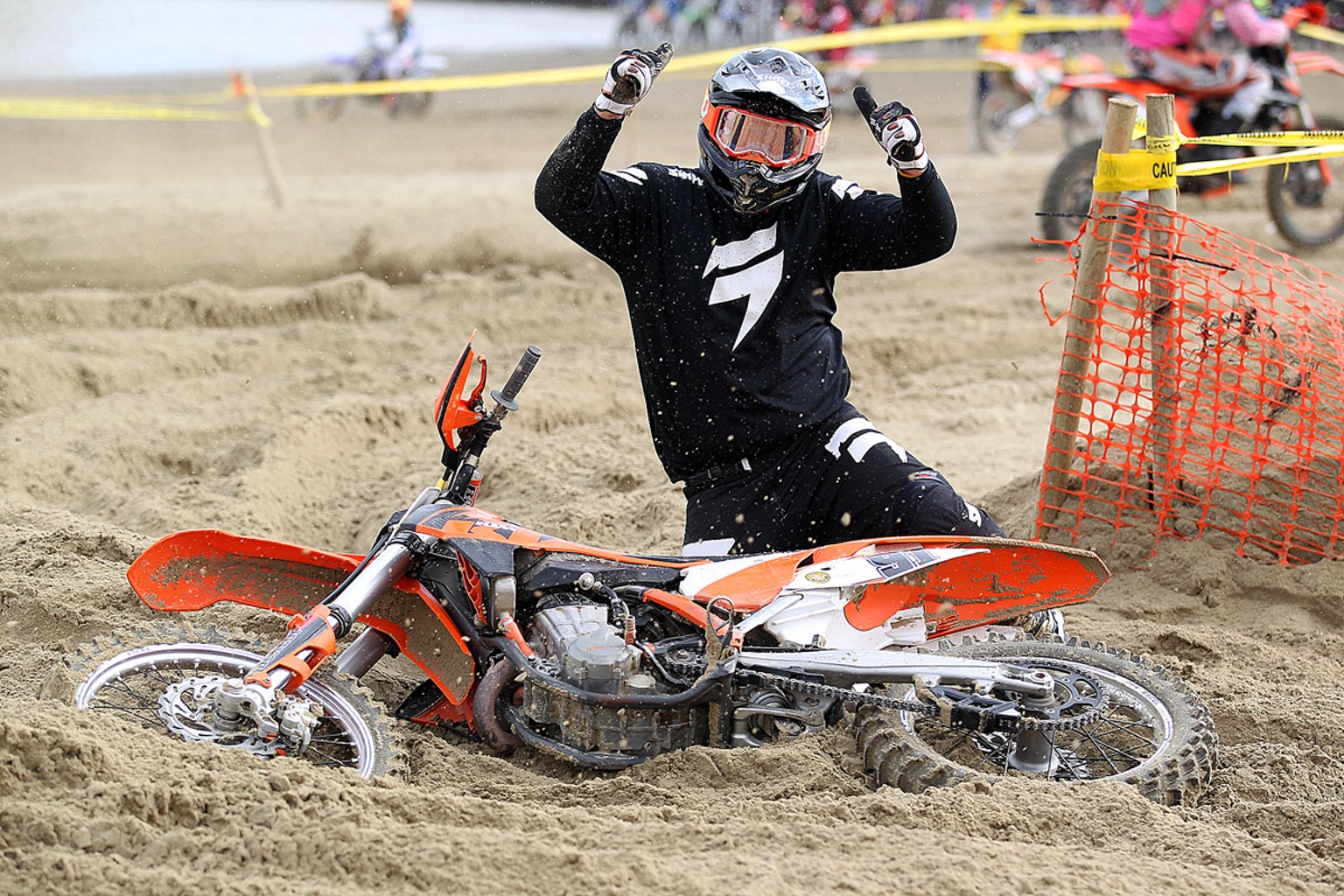 Matt Carrier having fun at Weymouth