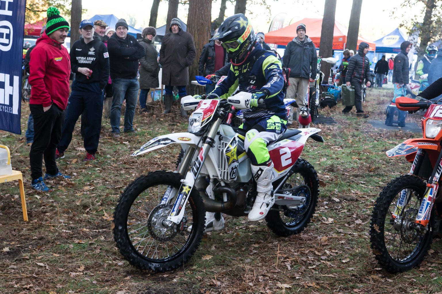 Daniel McCanney (Rockstar Husqvarna) At the start when his bike wouldn't start
