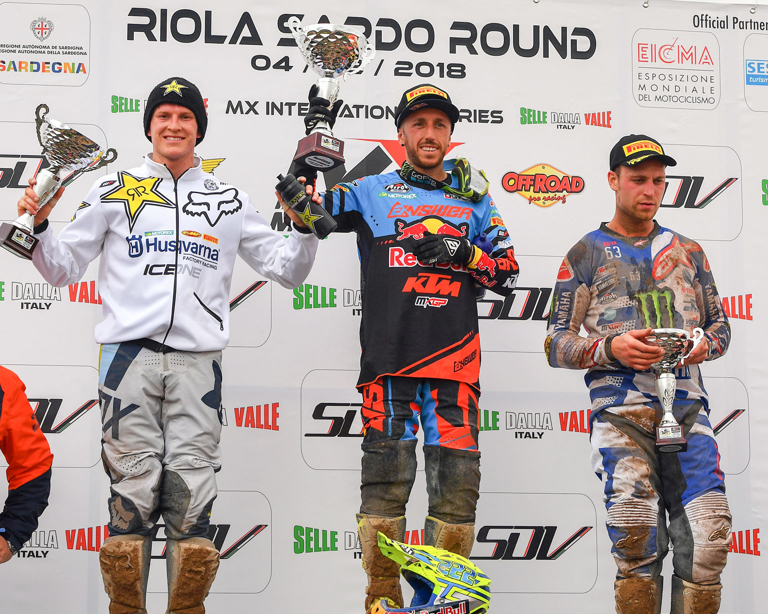 Cairoli won the MX1 race from Max Anstie and Jeremy Van Horebeek