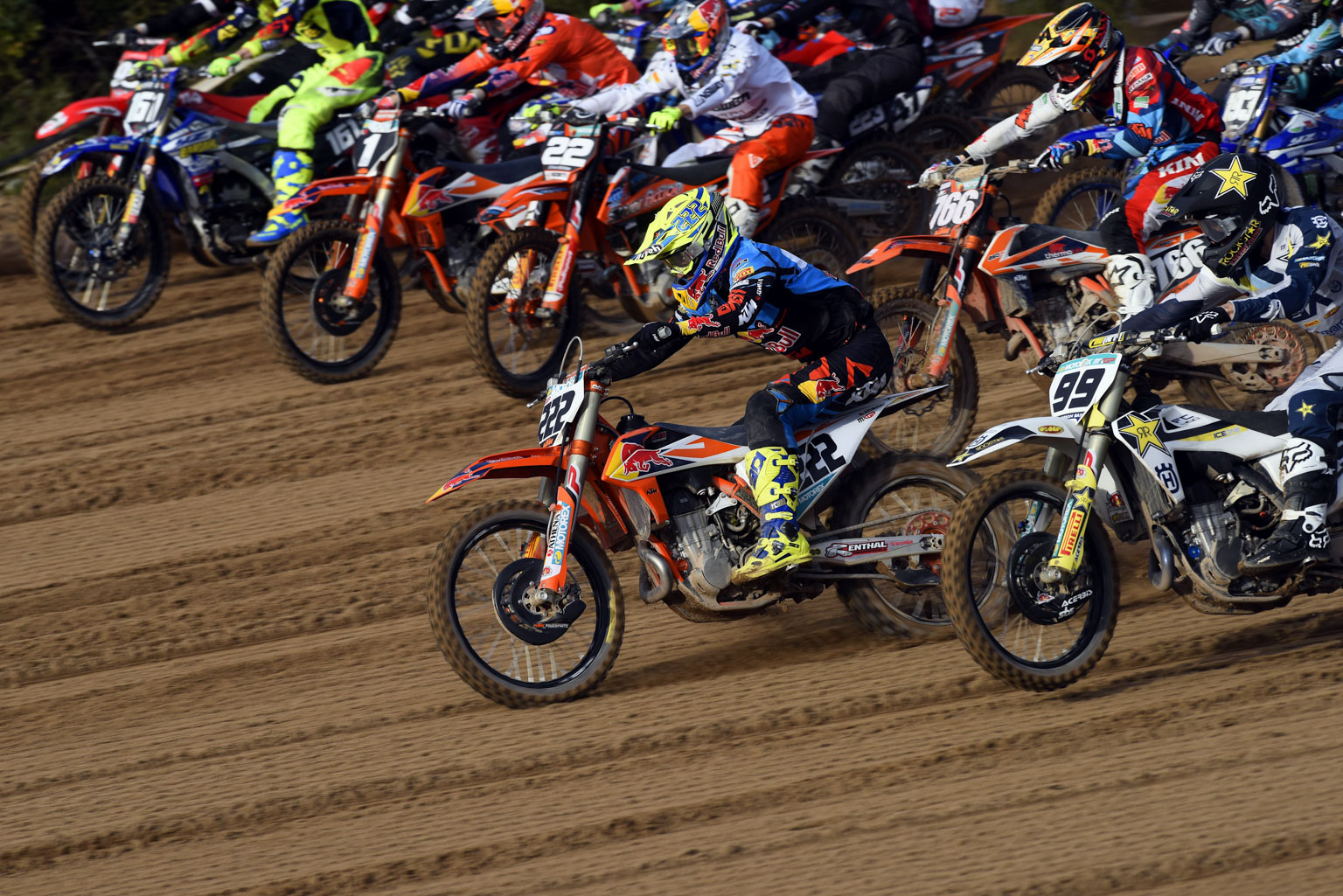 Tony Cairoli  takes the holeshot and won both motos