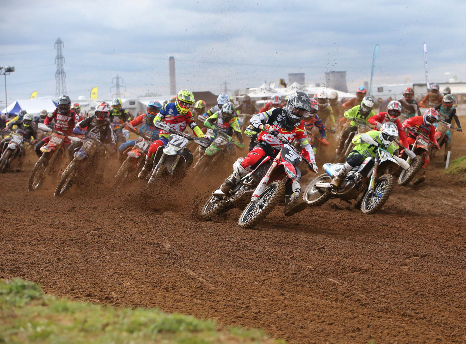 Josh Gilbert's training with the Buildbase Honda team is paying off. Here he holeshots an MX2 race from Mel Pocock and held on for two runner-up spots.